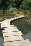 Stone walk way. This is a stone walkway. It connects 2 sides of a lake together. This was found in a large park located in China Stock Photo