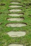 Stone walkaway in grass. Pathway leading home made of flat stones Stock Photography