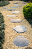 Stone walkway. Stone and sand walkway in garden Royalty Free Stock Photos