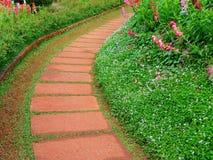 Stone walkway in flower garden Stock Photography