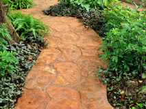 Stone walkway in garden Royalty Free Stock Photos