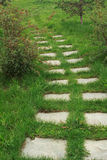 Stone walkway. On the grass in the park Royalty Free Stock Photography
