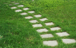 Stone walkway. On the grass in the park Royalty Free Stock Image