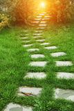 Stone walkway. On the grass in the park Stock Photography