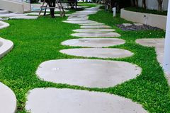 Stone walkway on the grass. Stone walkway pattern on grass field Stock Photos