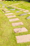 Stone walkway on green grass Stock Photos