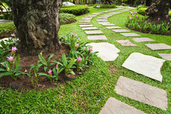 Stone walkway in the park Royalty Free Stock Photography