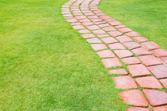 Stone walkway in the park grass Stock Photography