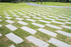 Stone walkway pattern on a grass field in perspective view in ci Stock Image