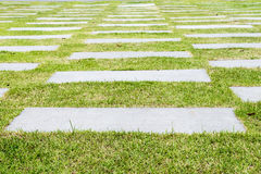Stone walkway pattern on a grassy field perspective Stock Photo