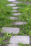 Stone walkway to success. Step stones close up in spring garden Royalty Free Stock Images