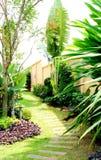 Stone walkway winding in garden Stock Photo