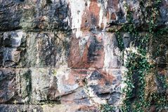 Stone Wall. The wet stone wall under the arch of a river bridge Royalty Free Stock Photography