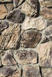 Stone Wall. Closeup of Detail of a Brown Stone Wall Royalty Free Stock Photos