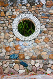 Stone wall. From hand made. Was created from stone shells, sand, cements. it is beautiful wall if you see it Stock Photo