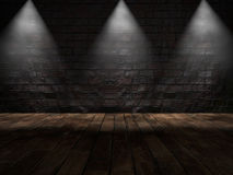 Stone Wall. Three lamps on stone wall over wooden floor Stock Images