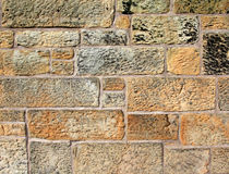 Stone wall. Detail of a stone wall in Edinburgh Stock Photo