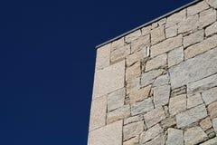 Stone wall. Over a dark blue sky stock photo