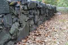 Stone wall along Blackstone River Greenway. In Lincoln, Rhode Island Stock Photography
