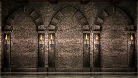 Stone wall with arches and torches. Stone wall and arches with shining torches 3d illustration royalty free stock image