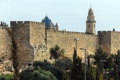 Stone wall around the Old City of Jerusalem Stock Photos