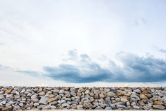 Stone wall as wave protection to avoid collusion Royalty Free Stock Photos