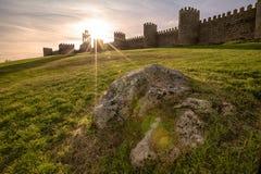 Stone Wall in Avila, Spain Stock Image