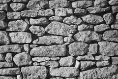 Stone wall background , black and white Stock Photos