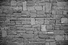 Stone wall background, black and white Stock Images