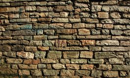 Stone wall background on earth tone. Stone wall pattern background on earth tone royalty free stock images
