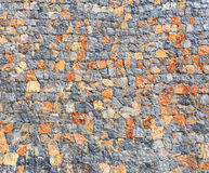 Stone Wall Background, Mixed Color of Stone Wall. Irregularly Shapes of Real Stone Wall with Mixed Colors (Background&#x29 Royalty Free Stock Images