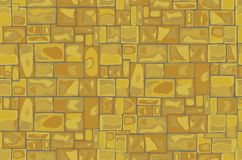 Stone Wall Background. Seamless Pattern, Vector illustration, Yellow Royalty Free Stock Photo