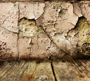 Stone wall background with wooden floor Royalty Free Stock Photo