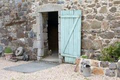 Stone Wall Barn With Open Door Stock Image
