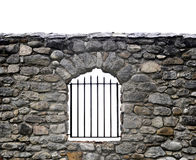 Stone wall and bars. Barred window on a stone wall over white Royalty Free Stock Images