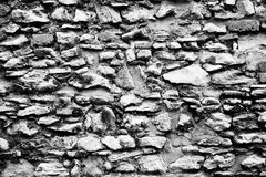 Stone wall black and white texture Stock Photo