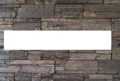 Stone wall with blank white Stock Photography