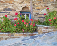 Stone wall with blue window and flowers Royalty Free Stock Photo