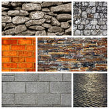Stone wall, brick wall and a pavement Royalty Free Stock Image