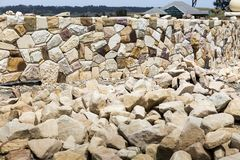 Stone wall built by craftsman royalty free stock photo