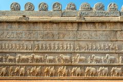 Stone wall carvings at Hampi Stock Image