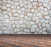 Stone wall on Cement brick floor interior modern style Royalty Free Stock Images