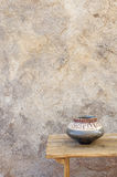 Stone Wall and Ceramic Bowl Royalty Free Stock Photos