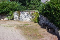 Stone wall with climbing roses royalty free stock photo