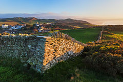 Stone Wall and Coastal View near Mortehoe in North Devon, Englan Stock Photography