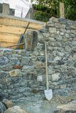 Stone wall during construction stock photo