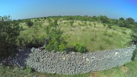 Stone wall in Dalmatian hinterland, aerial shot stock video footage