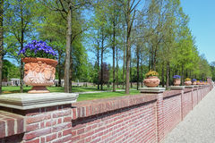Stone wall decorated with violets filled earthenware pots Royalty Free Stock Images