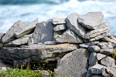 Rocks and vegetation on Doolin beach, county Clare, Ireland. Stone wall, Doolin`s Bay, The Burren, County Clare, Ireland Royalty Free Stock Images