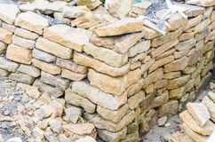 Stone wall, drywall, sandstone. Stone sandstone wall we created in dry construction Royalty Free Stock Image